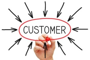 arrows pointing at the word customer