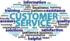 collage of words that describe retail customer service